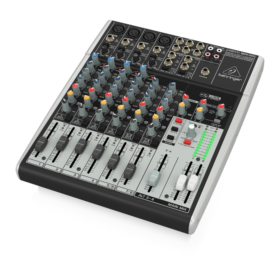 Premium 12-Input 2/2-Bus Mixer with XENYX Mic Preamps & Compressors, British EQs and USB/Audio Interface