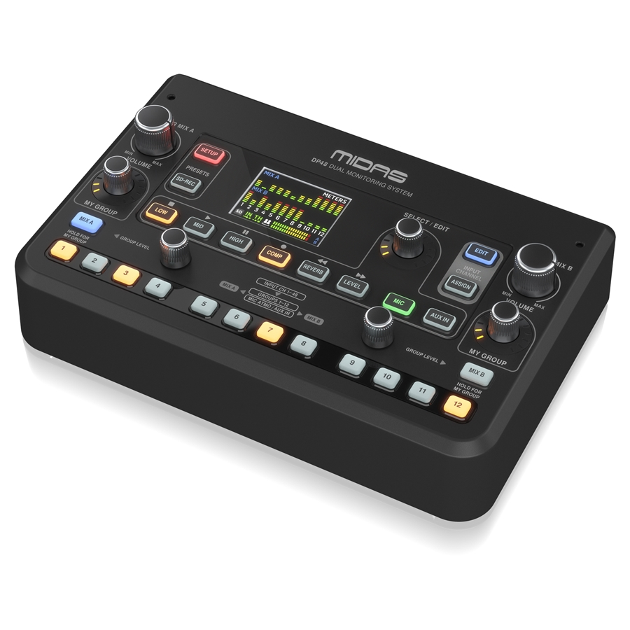 Dual 48 Channel Personal Monitor Mixer with SD Card Recorder, Stereo Ambience Microphone and Remote Powering