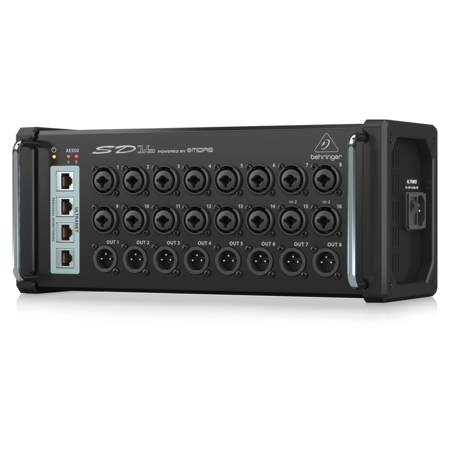 I/O Stage Box with 16 Remote-Controllable Midas Preamps, 8 Outputs, AES50 Networking and ULTRANET Personal Monitoring Hub
