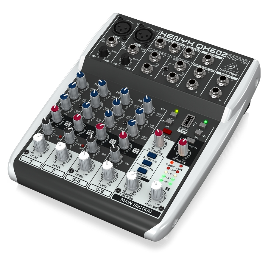 Premium 6-Input 2-Bus Mixer with XENYX Mic Preamps, British EQs, MP3 Player and Multi-FX