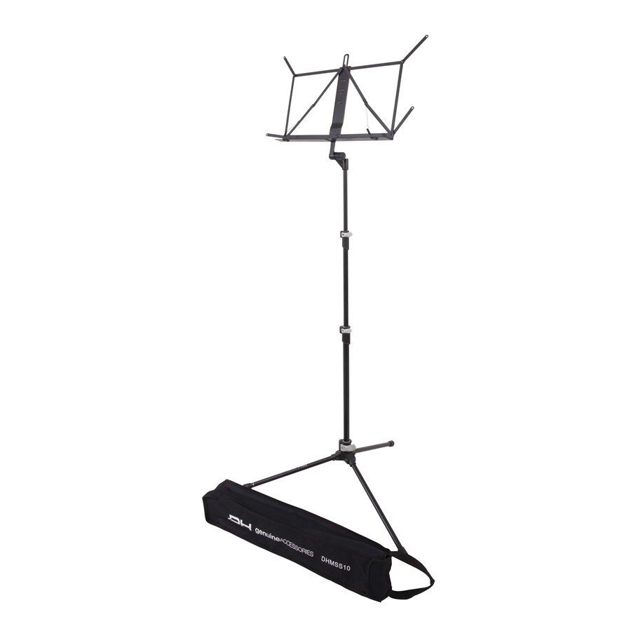 Ultra-light professional music stand with three fully collapsible sections.