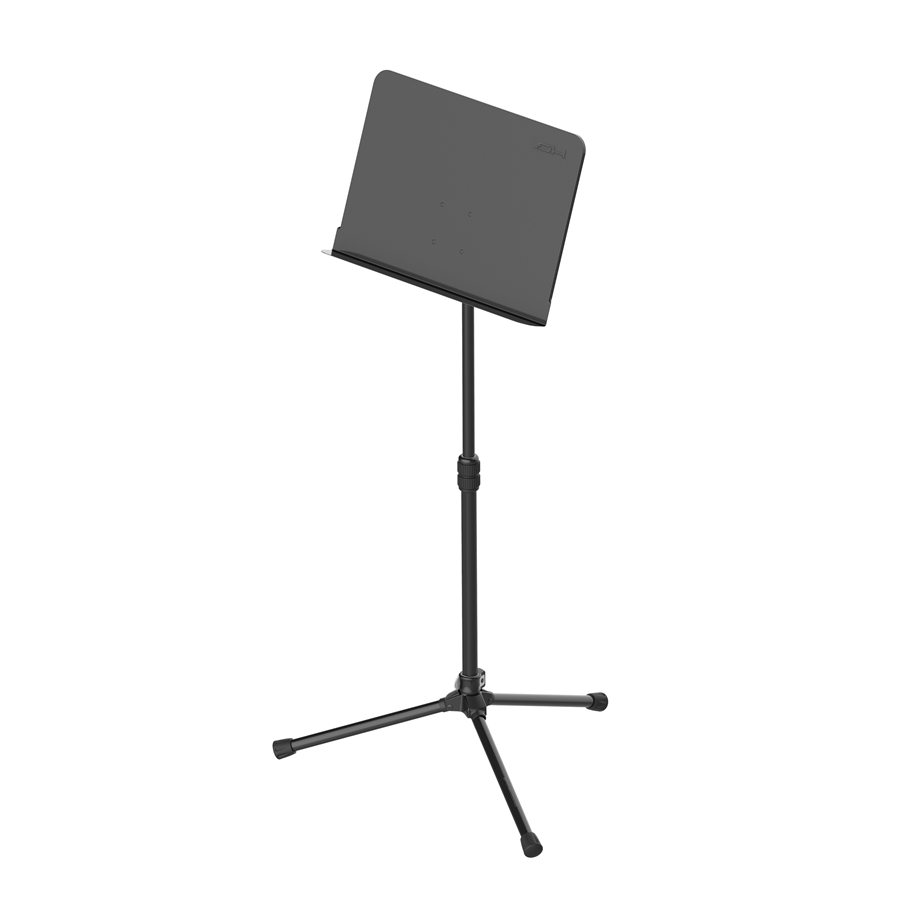 Professional music stand with adjustable metal upper plate and tripod base.