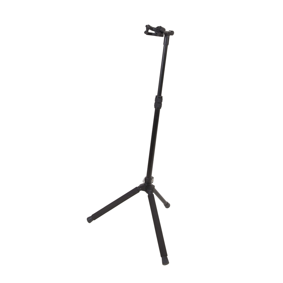 Universal floor standing stand for guitar, made of steel and aluminum.