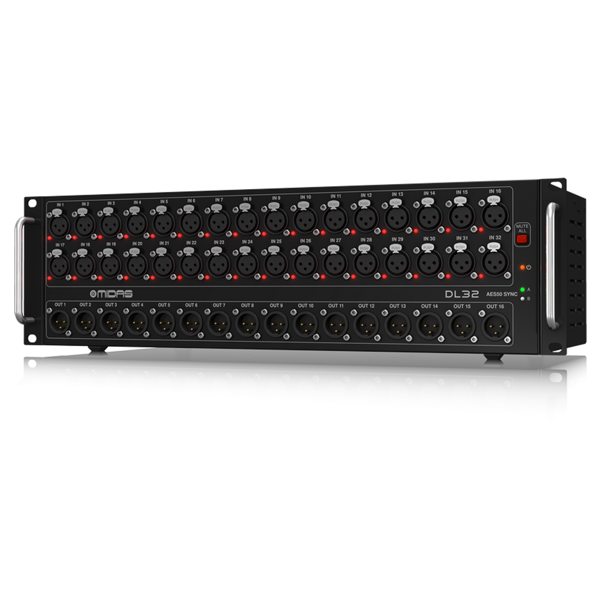 32 Input, 16 Output Stage Box with 32 Midas Microphone Preamplifiers,