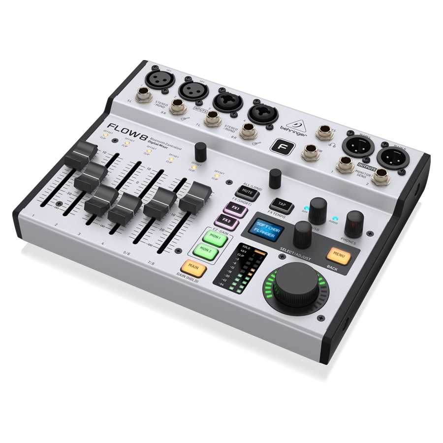 8-Input Digital Mixer with Bluetooth Audio and App Control, 60 mm Channel Faders, 2 FX Processors and USB/Audio Interface