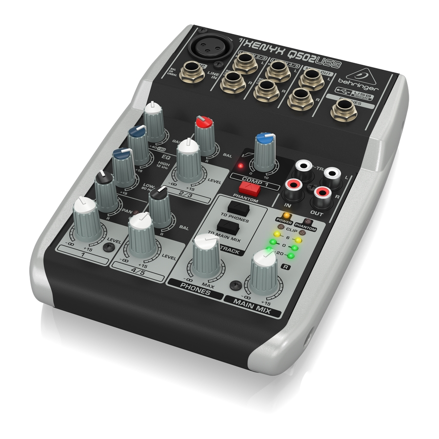 Premium 5-Input 2-Bus Mixer with XENYX Mic Preamp & Compressor, British EQ and USB/Audio Interface