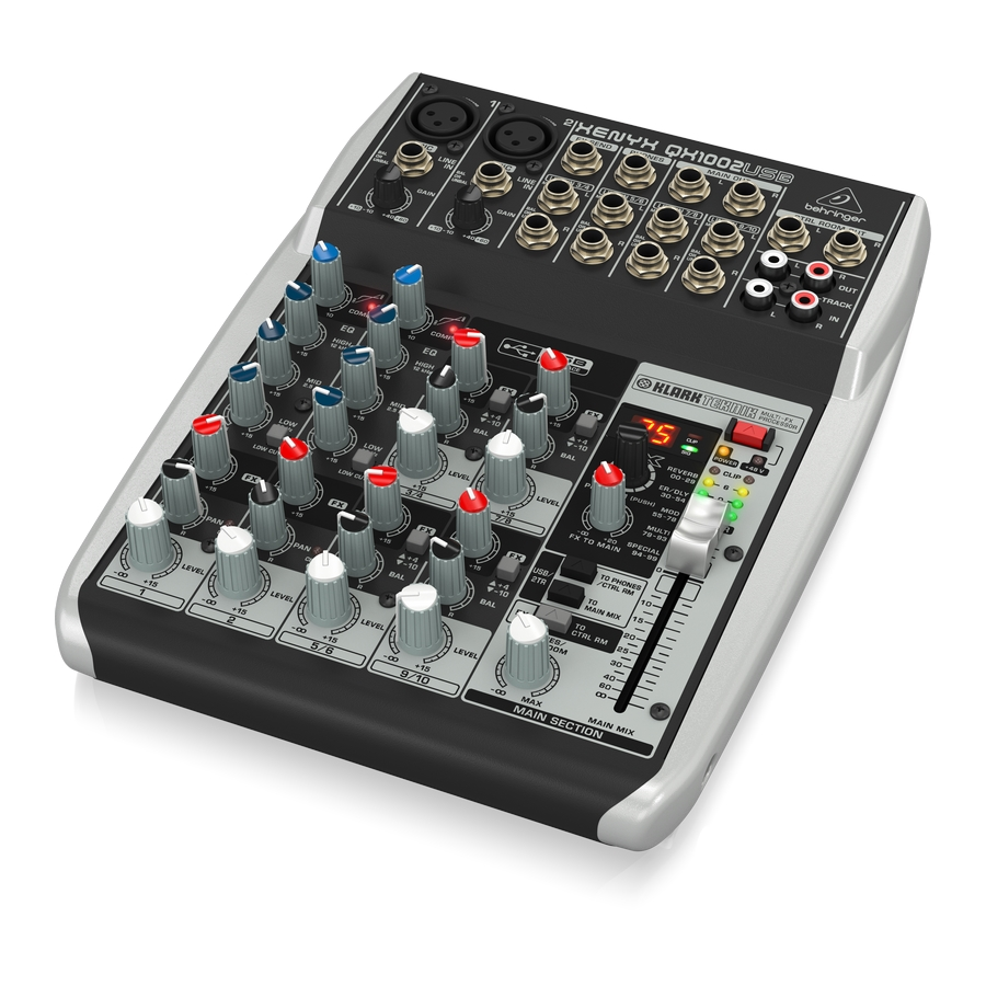 Premium 10-Input 2-Bus Mixer with XENYX Mic Preamps & Compressors, British EQs, Klark Teknik Multi-FX Processor and USB/Audio Interface