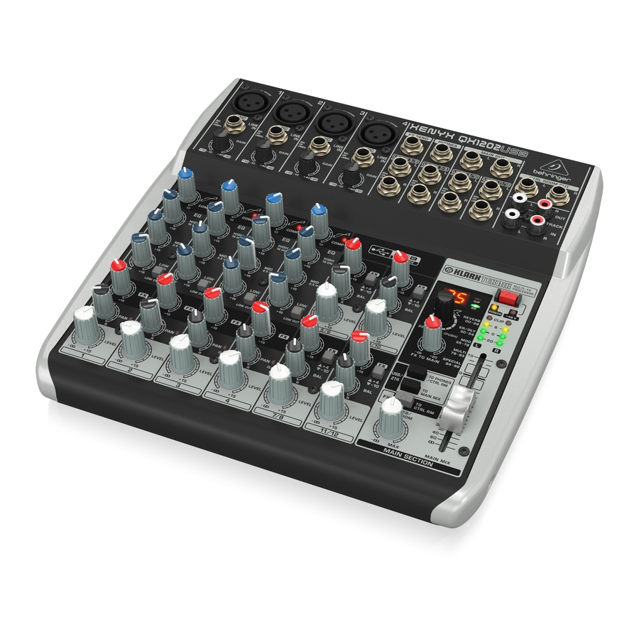 Premium 12-Input 2-Bus Mixer with XENYX Mic Preamps & Compressors, British EQs, Klark Teknik Multi-FX Processor and USB/Audio Interface