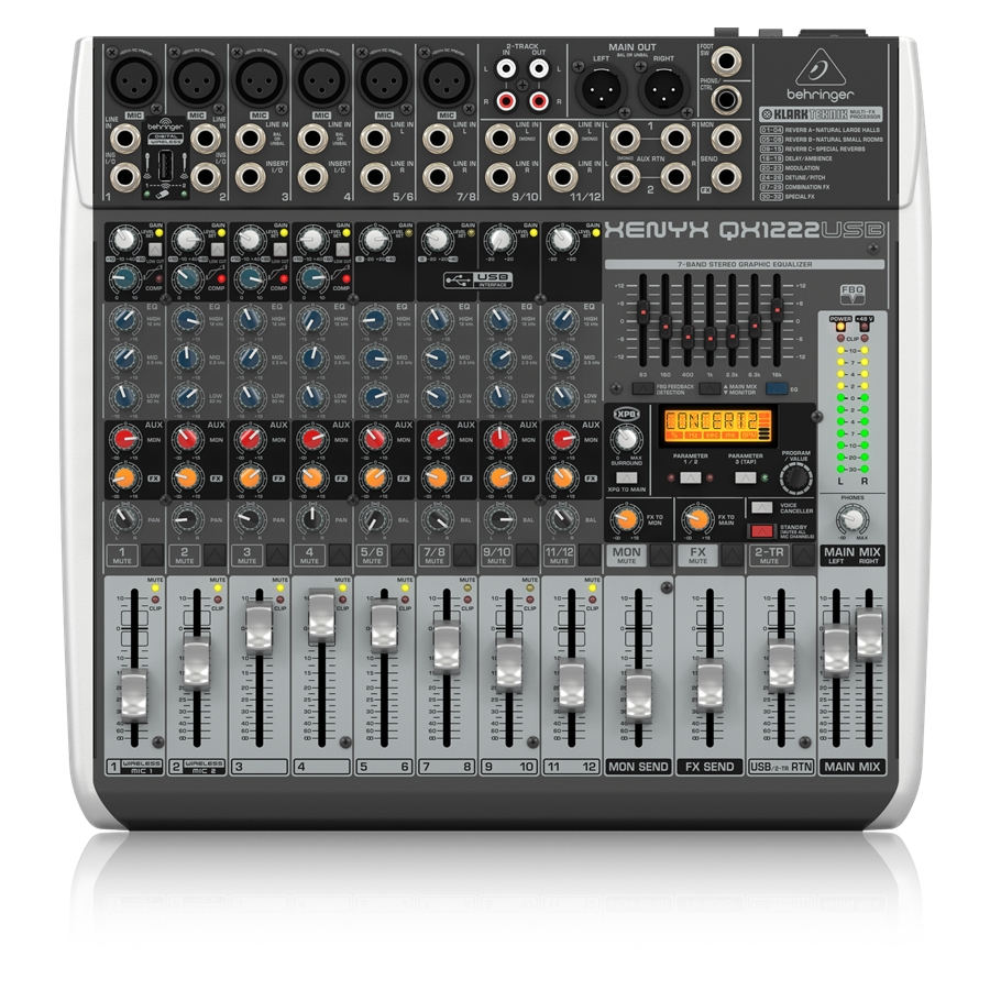 Premium 16-Input 2/2-Bus Mixer with XENYX Mic Preamps & Compressors, Klark Teknik Multi-FX Processor, Wireless Option and USB/Au