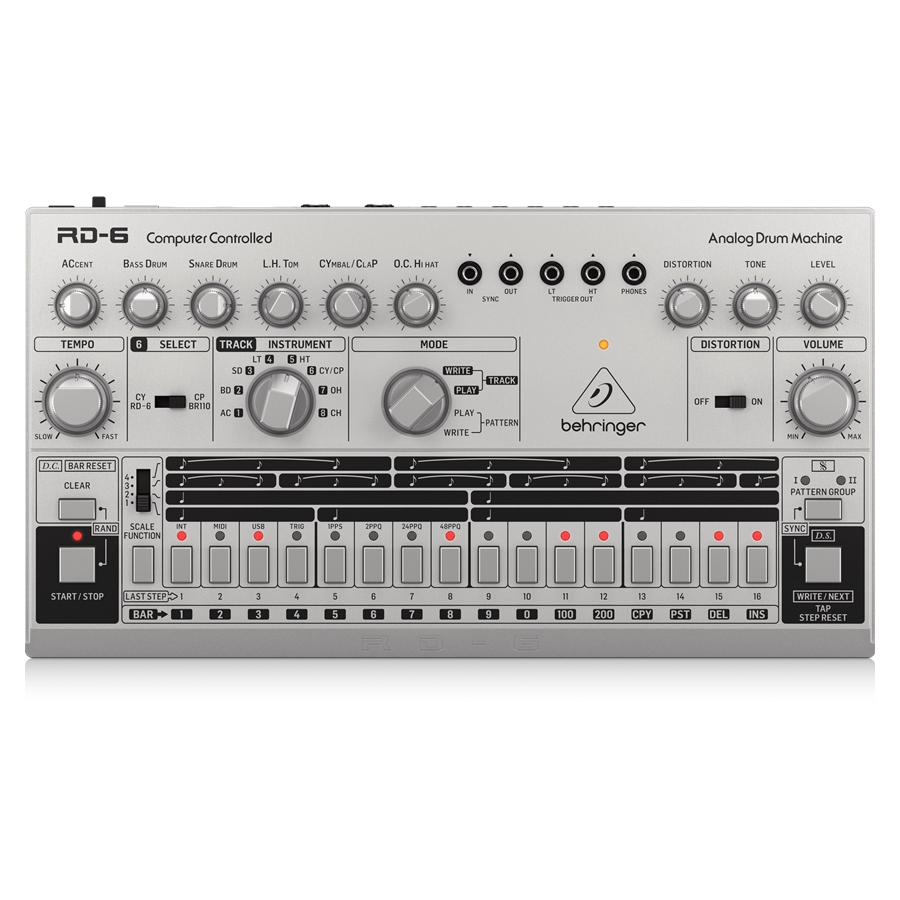 Classic Analog Drum Machine with 8 Drum Sounds, 16-Step Sequencer and Distortion Effects
