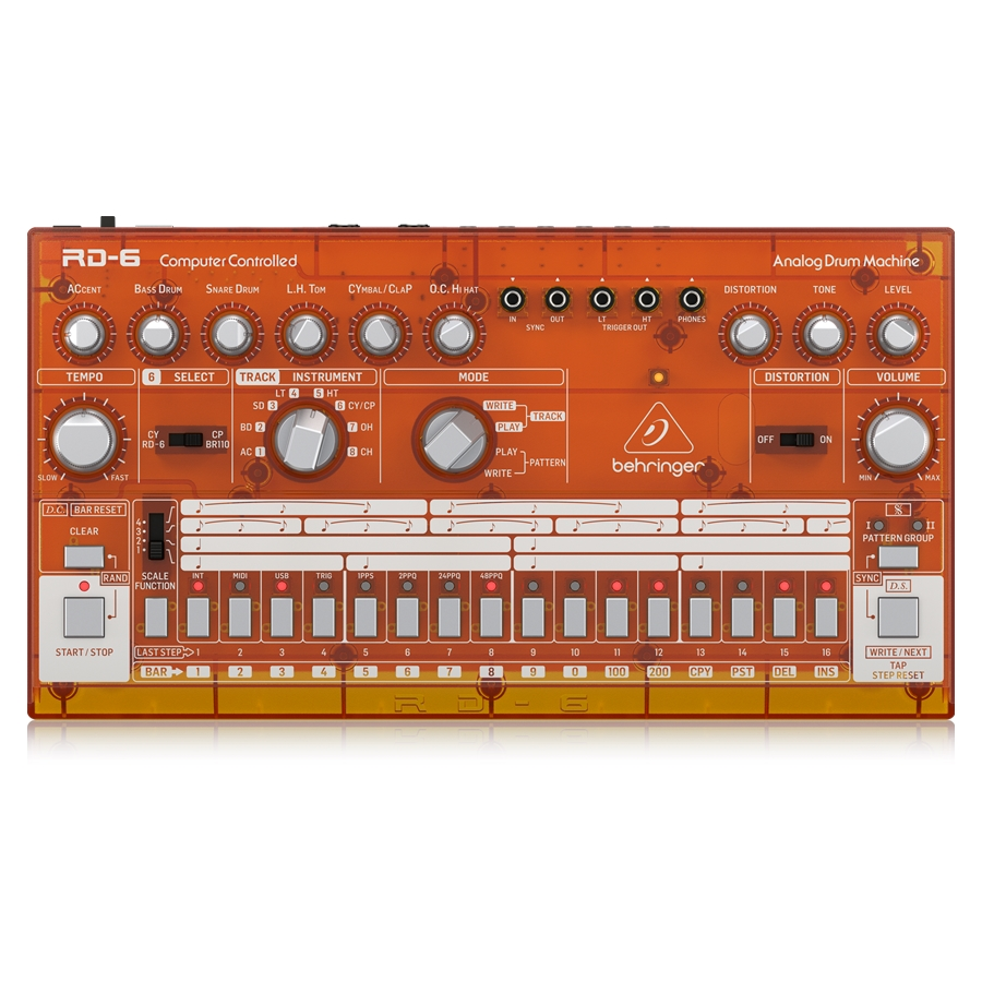 Classic Analog Drum Machine with 8 Drum Sounds, 16-Step Sequencer and Distortion Effect