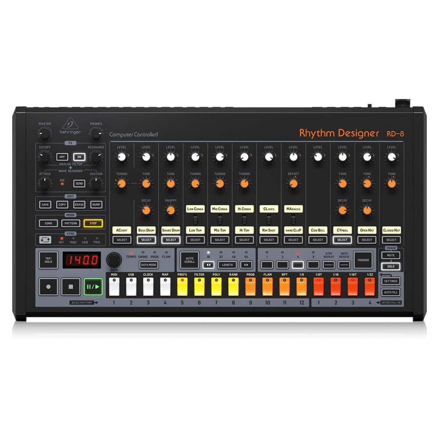 Classic Analog Drum Machine with 16 Drum Sounds, 64 Step Sequencer, Wave Designer and Dual-Mode Filter