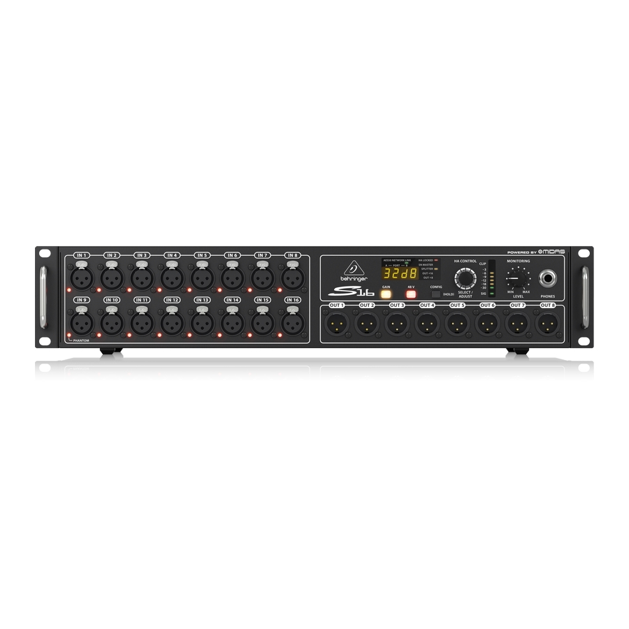 I/O Box with 16 Remote-Controllable Midas Preamps, 8 Outputs and AES50 Networking featuring Klark Teknik SuperMAC Technology