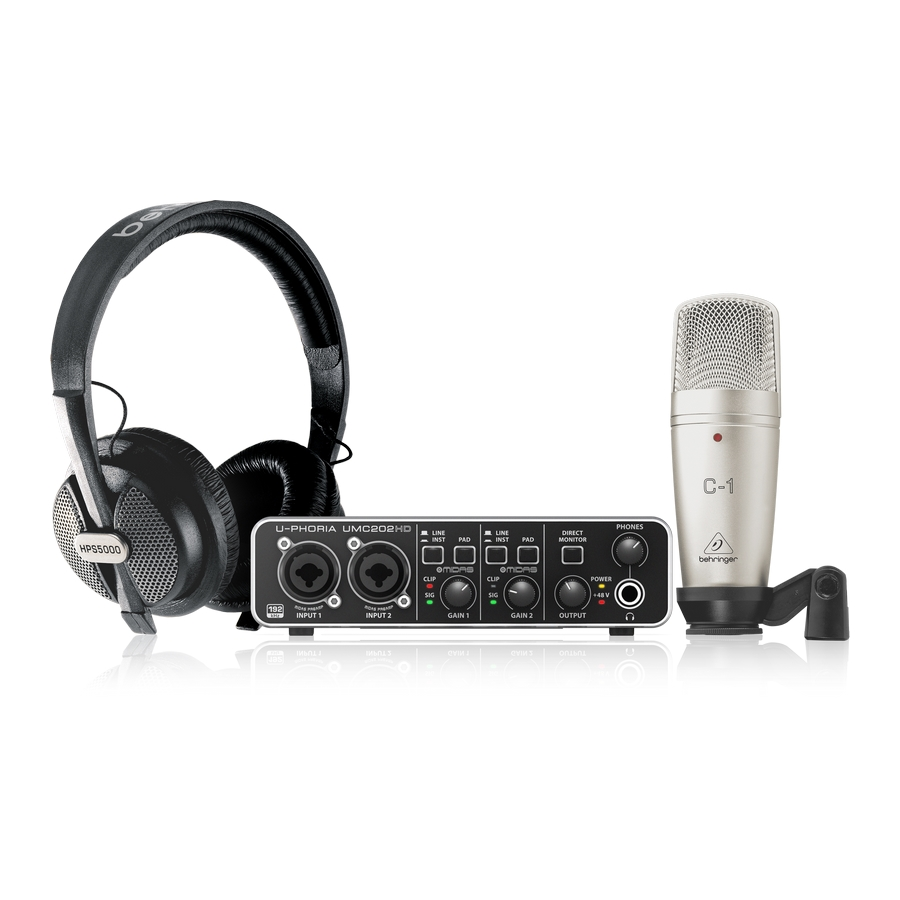 Complete Recording Bundle with High Definition USB Audio Interface, Condenser Microphone, Studio Headphones and More