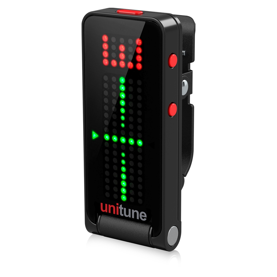 Black Clip-On Tuner with Strobe and Chromatic Modes and 108 LED Matrix Display for Uncompromised Tuning Quality