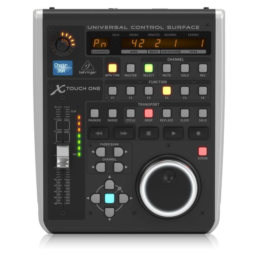 Universal Control Surface with Touch-Sensitive Motor Fader and LCD Scribble Strip