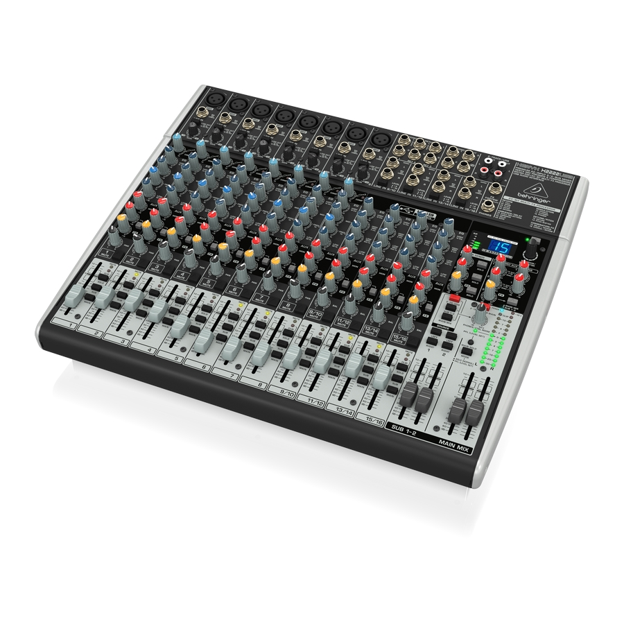 Premium 22-Input 2/2-Bus Mixer with XENYX Mic Preamps & Compressors, British EQs, 24-Bit Multi-FX Processor and USB/Audio Interface