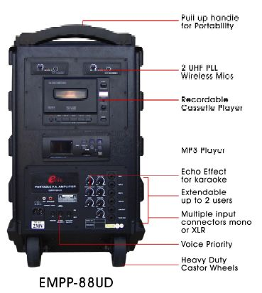 EMIX | EMPP - 88UD - HL - MP3 | Wireless / Wired Portable P.A. System with built in MP3 player, cassette Recodable Player