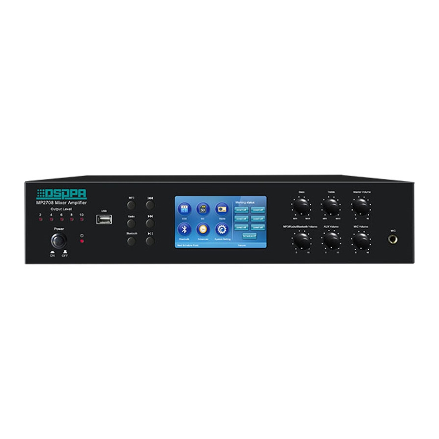 MP2708 6 Zones Mixer Amplifier with SD/USB/Tuner/Bluetooth/Timer